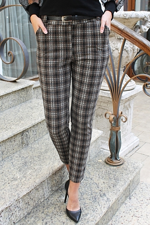Стилен дамски панталон каре 88264