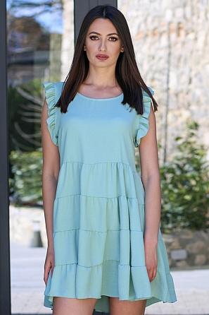 Едноцветна свободна дамска рокля с волани 9079