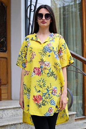 Памучна дамска блуза/туника на цветя с къси ръкави 9049