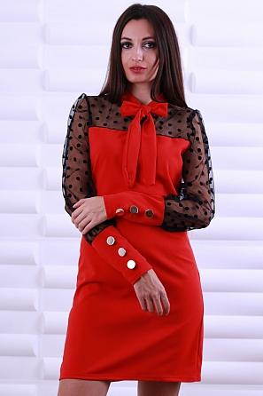 Интересна дамска рокля с дантела с точки и панделка 8606