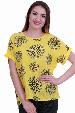 Памучна дамска блуза с цветя и издължена задна част 8419