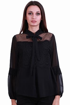 Елегантна дамска блуза с дантела и панделка 8236