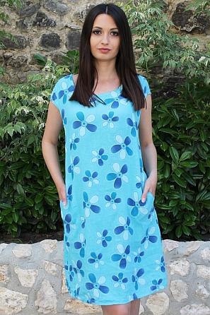 Ленена дамска рокля на мотиви красиви цветя 9091
