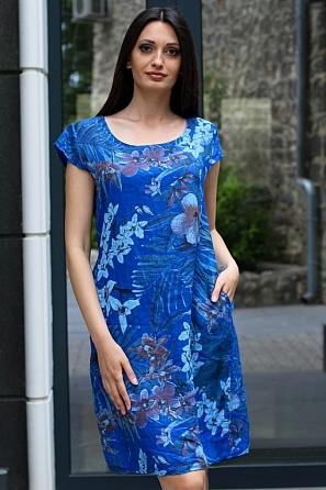 Ленена дамска рокля на флорални мотиви 9089