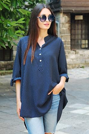 Ежедневна блуза на малки точки с къс ръкав 87474