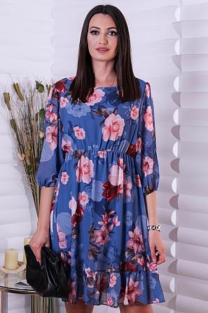 Елегантна дамска рокля на флорални мотиви 9074
