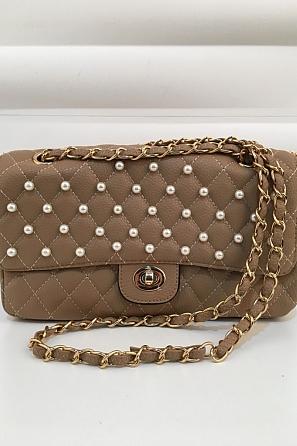 Стилна дамска чанта с перлен акцент 1024