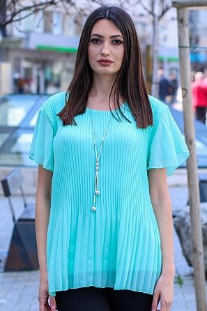 Дамска блуза солей с къси ръкави и подарък аксесоар 9046