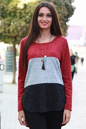 Дамска блуза в 3 цвята с издължена задна част 8568