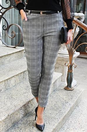 Стилен дамски панталон каре 88263