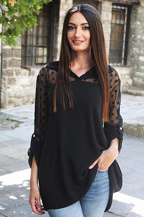 Дамска блуза на точки с прозрачни ръкави 8808