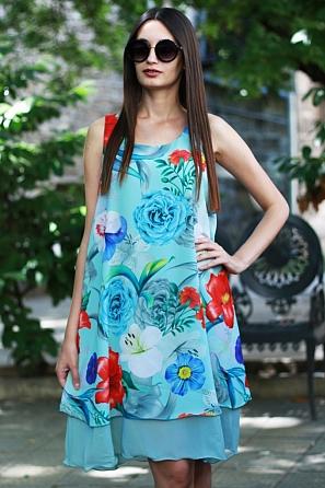 Стилна шифонена дамска рокля на цветни мотиви 8764
