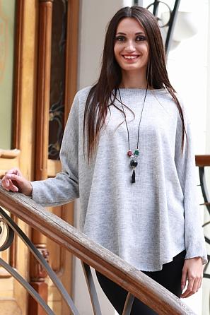 Едноцветна дамска блуза с подарък колие 8574