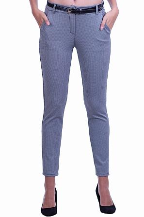 Дамски панталон дребен пепит с подарък колан 8508