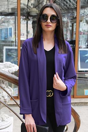 Пролетно едноцветно дамско сако с джобове 9042