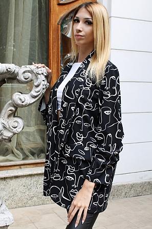 Ефектно дамско сако на лица и дълги ръкави 9184