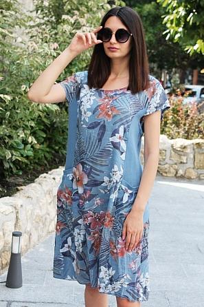Памучна свободна дамска рокля на цветя 9096