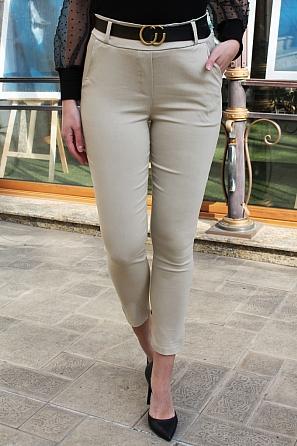 Едноцветен еластичен дамски панталон с колан 9012