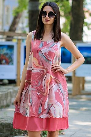 Елегантна шифонена дамска рокля на цветни мотиви 9098