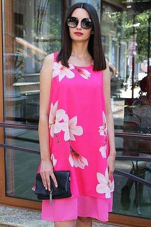 Елегантна шифонена дамска рокля на цветя 9069