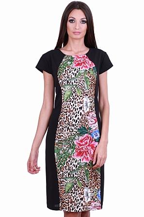 Стилна рокля с флорални и животински мотиви в предната част 8103