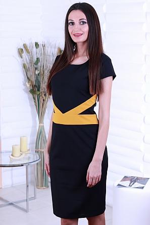 Елегантна дамска рокля с цветен акцент 8710
