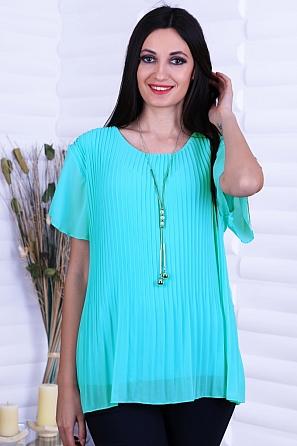 Шифонена дамска блуза солей с къси ръкави 8731