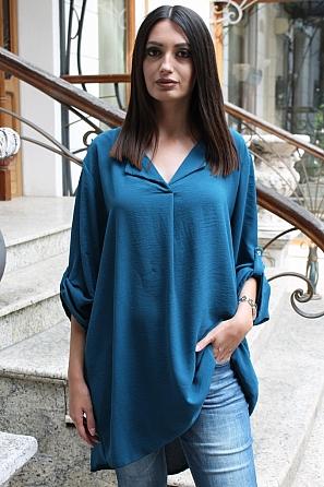 Едноцветна дамска блуза/туника с дълги навиващи се ръкави 9134