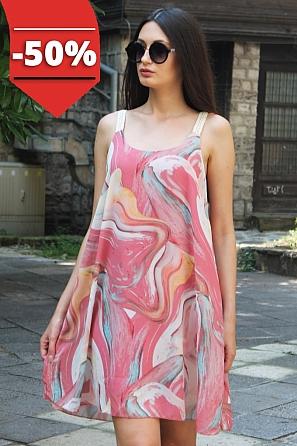 Шифонена цветна дамска рокля/туника с тънки презрамки 8769