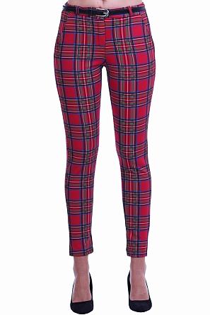 Кариран дамски панталон с подарък колан 8504