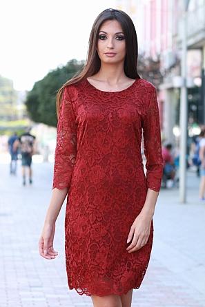 Стилна дантелена дамска рокля 8107