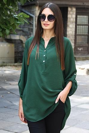 Едноцветна блуза с издължена задна част и дълги ръкави 8801