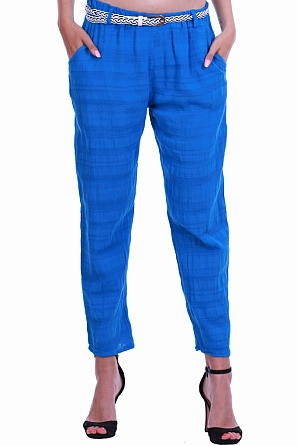 Памучен летен дамски свободен панталон с колан 8432
