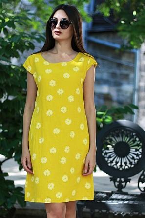 Ленена свободна дамска рокля на цветя 8775