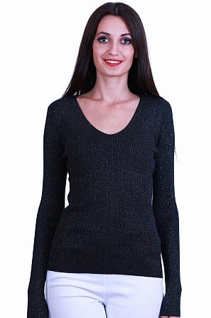 Дамски пуловер ламе фино плетиво с V-образно деколте 8522