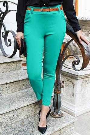 Еластичен дамски панталон с колан 9101