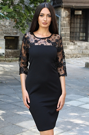 Луксозна дамска рокля с дантелени ръкави 8809