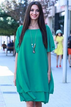 Елегантна едноцветна шифонена дамска рокля с къси ръкави 8763