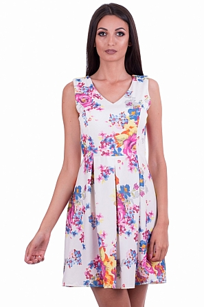 Стилна разкроена дамска рокля на цветя 80422