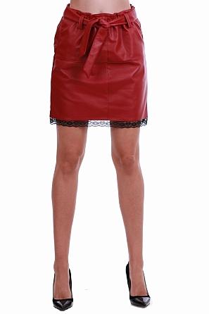 Стилна кожена дамска пола с колан 8227
