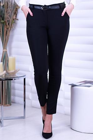 Еластичен едноцветен дамски панталон с колан 8702