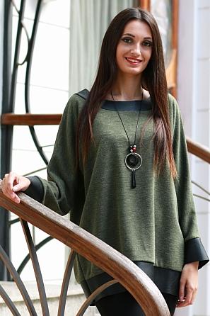 Стилна дамска блуза с кожени елементи 8575