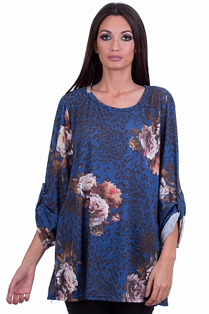 Дамска блуза с принт от цветя и навиващи се ръкави 8114