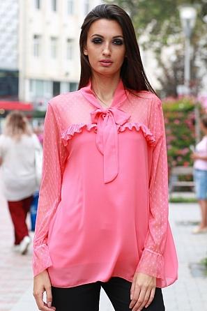 Шифонена дамска блуза с панделка по деколтето 8101