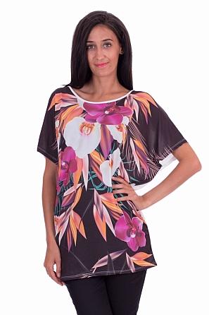 Ежедневна дамска блуза с орхидеи
