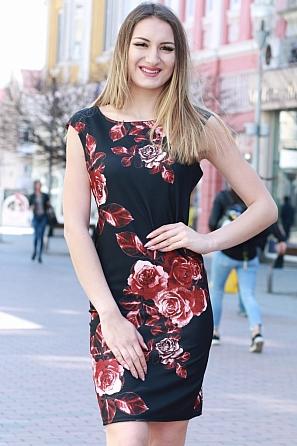 Елегантна дамска рокля с големи рози 8368