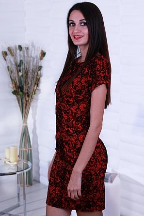 Елегантна дамска рокля с дантелен флорален мотив 8241