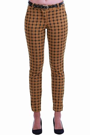 Елегантен дамски панталон на цветни карета 8550