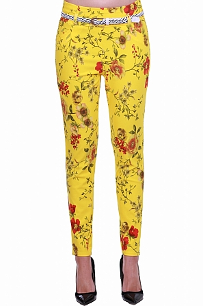 Еластичен дамски панталон на флорални мотиви 8331