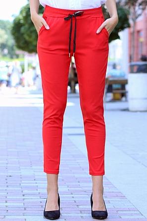 Модерен едноцветен дамски панталон с връзки 8501